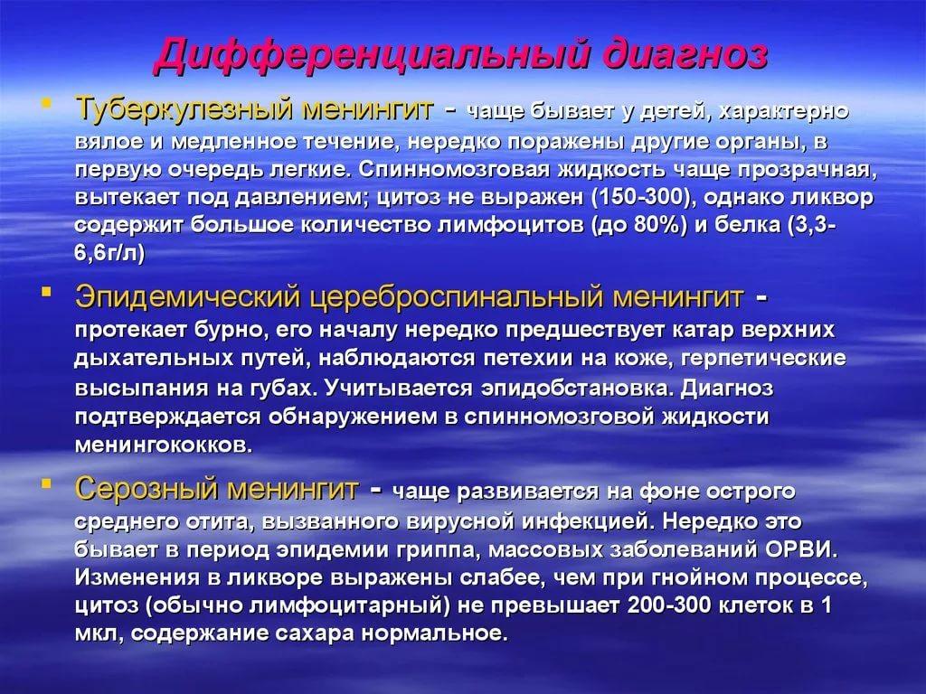 Менингит клиника диагностика
